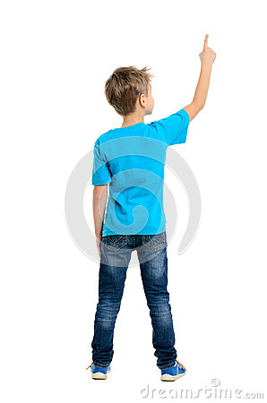 Free Rear View Of A School Boy Over White Background Pointing Upwards Stock Photos - 41232153