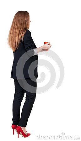 Free Rear View Of A Young Business Woman Drinking Coffee Or Tea While Stock Images - 44418854