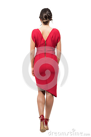 Free Rear View Of Elegant Woman With Bun Hairstyle In Red Evening Dress Walking Away Royalty Free Stock Photos - 95439498