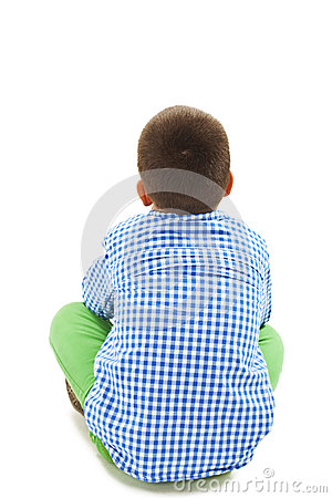 Free Rear View Of Little Boy Sitting On Floor Stock Image - 60544941