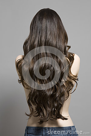 Free Rear View Of Topless Woman With Long Wavy Hair Royalty Free Stock Photography - 33904067