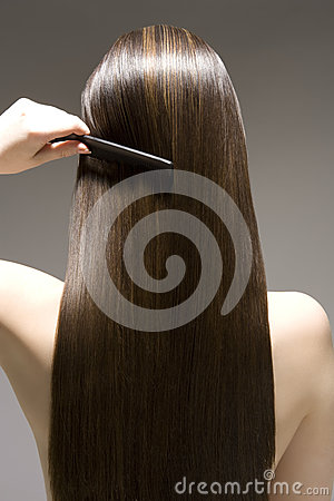 Free Rear View Of Woman Combing Brown Hair Royalty Free Stock Image - 33909266