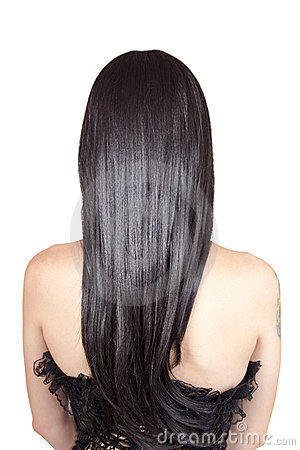 Free Rear View Of Young Woman With Black Silky Hair Royalty Free Stock Images - 22377899