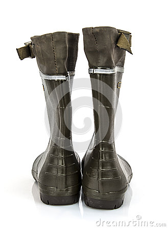 Rear view of a pair of Wellington boots