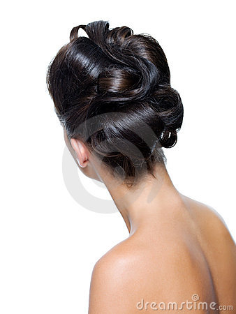Rear view of a stylish curly  hairstyle
