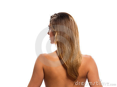Rear view topless blond hair woman portrait