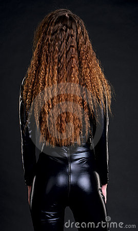 Rear view of woman in skintight