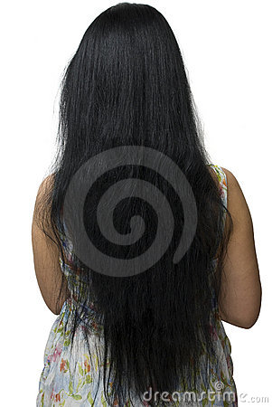 Rear view on woman very long hair