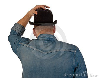 Rear view of a young man with a bowler