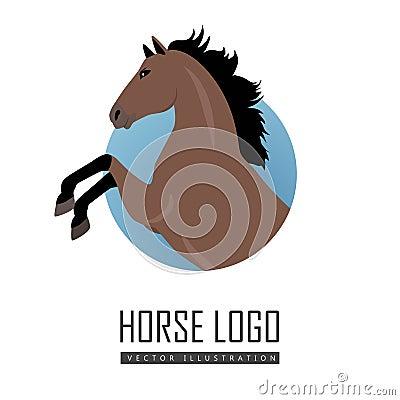 rearing sorrel horse logo vector illustration