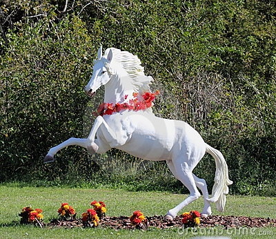 Rearing White Horse Garden Figure
