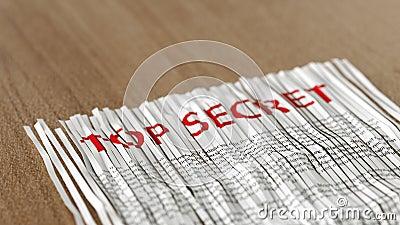 Reassembled shredded top secret paper