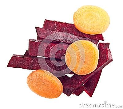 Rebanada de la zanahoria y de las remolachas