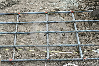 Tied rebar mat use to reinforce concrete foundation