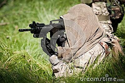 Rebel soldier defending his ground