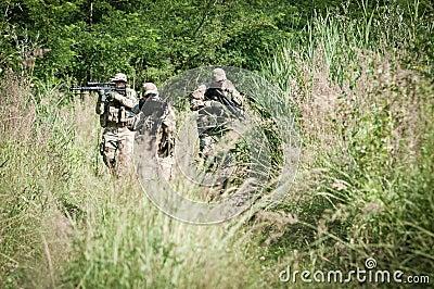 Rebel soldiers on patrol