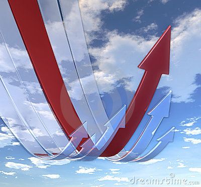 Rebounding Arrows Red Stock Image - Image: 12839631
