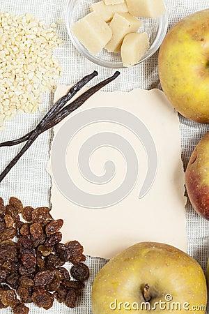 Receita cozida das maçãs