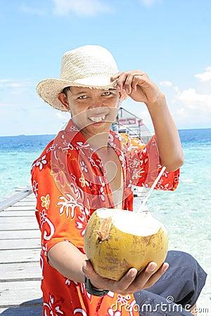 Recepción a la playa tropical