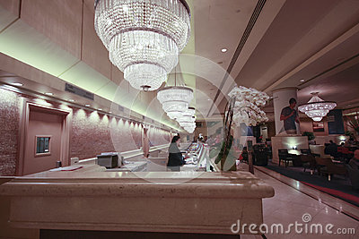Reception desk in Hilton Union Square hotel Editorial Stock Image