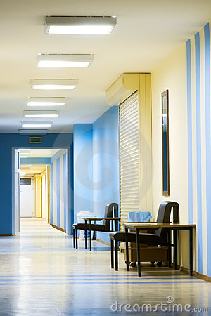 Free Reception In Hospital With Corridor Royalty Free Stock Photography - 4949007