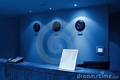 Reception with phone and clock, monochromatic