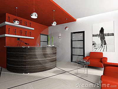 Reception room in office 3D