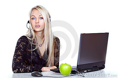 Receptionist with laptop