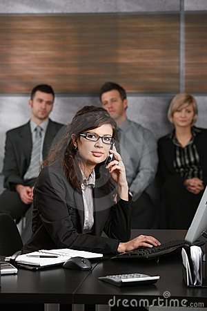 Receptionist talking on phone