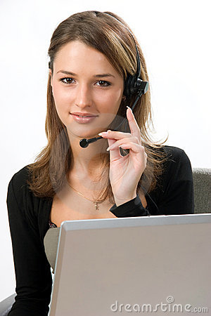 Free Receptionist With Headset Royalty Free Stock Images - 3293179