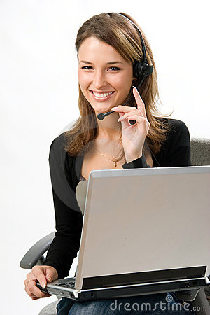 Free Receptionist With Headset Stock Image - 3293181