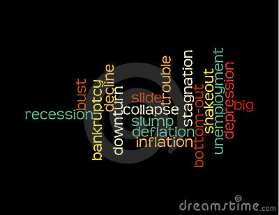 Recession collage of words