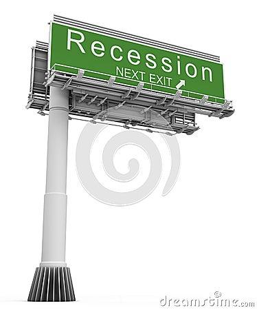Recession Freeway Exit Sign