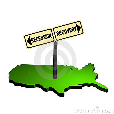 Recession recovery sign on USA map