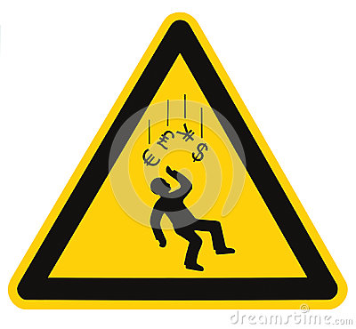 Recession Warning Danger Falling Currency Sign