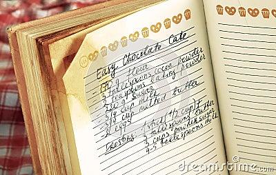 Receta en libro de cocina
