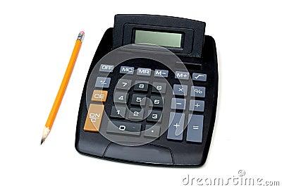 Rechner und Bleistift