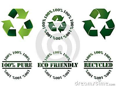Recicl o símbolo e os selos