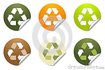 Reciclaje de iconos de la etiqueta engomada