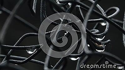 Recinto di filo metallico bagnato stock footage