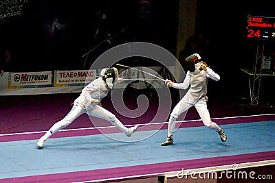 Recinzione della tazza di mondo Shanaeva 2010 contro Eriggo Arianna Fotografia Editoriale