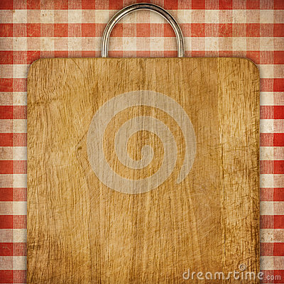 Recipe background breadboard over red gingham picnic tablecoth