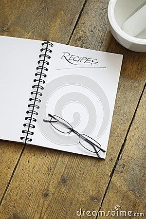 Recipe Book and Glasses