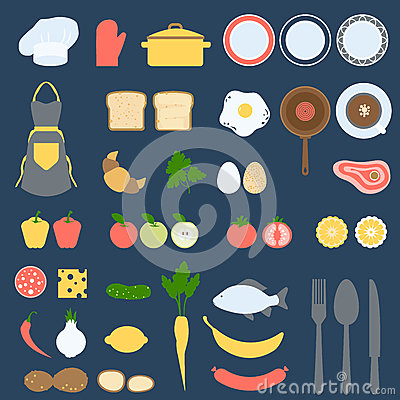 Free Recipe Card And Cook Book Design Set, Flat Vector Illustration Stock Photo - 57694170