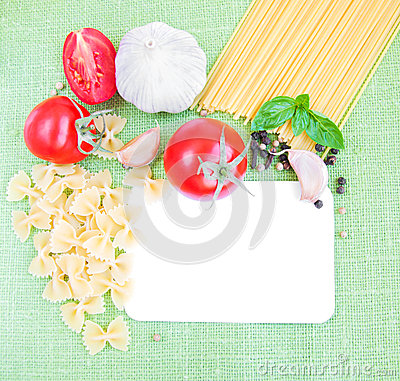 Recipe card with ingredients