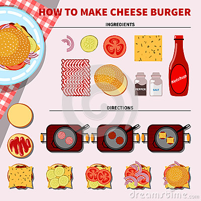 Recipe Infographic For Making Cheese Burger Stock Vector - Image ...