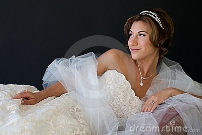 Reclining Bride with Happy Look on Face