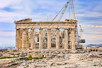Reconstruction of Acropolis in Athens, Greece