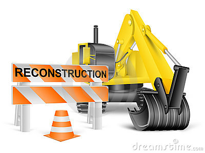 Reconstruction concept on white