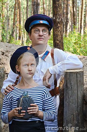 Free Reconstruction Of The Events Of World War II, Russia, Dimitrovgrad, 26 Aug 2017. Portrait Of A Man And A Little Girl In Stock Photography - 99015242